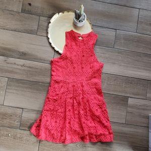 Anthro Kimchi Blue High Neck Lace Mini Dress 8